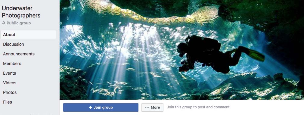 Underwater Photographers Facebook Group Page